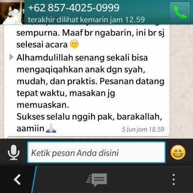 Pesan Layanan aqiqah Gunungkidul melalui whatsapp