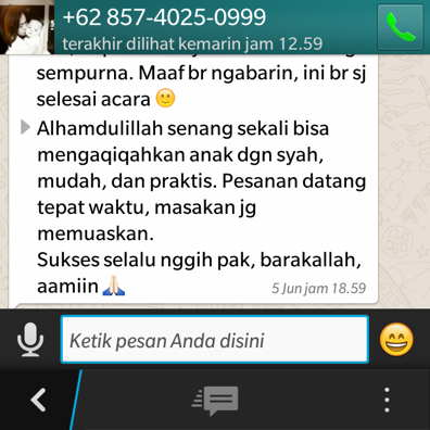 Pesan aqiqah semarang lewat whatsapp ( WA )