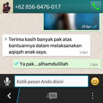 Pesan aqiqah delanggu menggunakan whatsapp