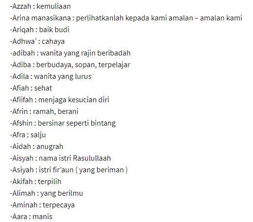 Nama Bayi Perempuan islami A ( berawalan huruf A )
